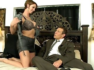 Chesty Super-bitch Goes To Horny Stud's Room To Suck His Implement