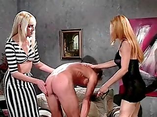 Two Bossy Trannies Humps Homosexual On Sofa