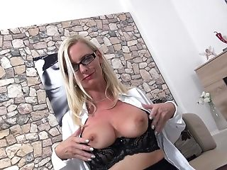 Matures Unexperienced Blonde Assistant Dirty Tina Masturbates With Glasses On