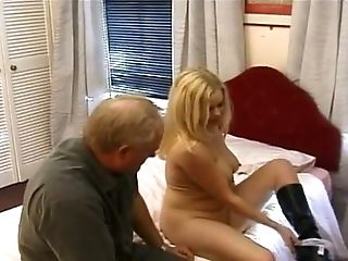 Old Fart Talks A Big Boobed Mummy Into Having Some Crazy Joy With Him