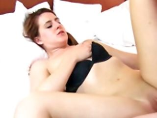 A Woman With Dark Nips On Her Diminutive Tits Is Getting Pounded