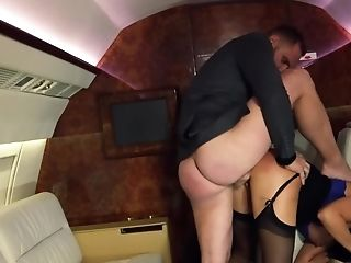 Huge-chested Stewardess Is Being Titfucked And Banged On The Plane