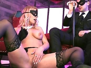 Masked Woman In Stockings Makes A Customer Glad By Dance And Fuckfest