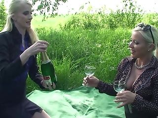 Outdoor Threesome With Pissing Kink And Two Glamour Whores