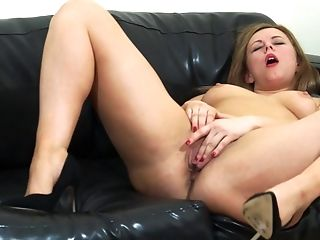 Masturbating Alone On The Couch Makes Anna Joy Reach An Orgasm