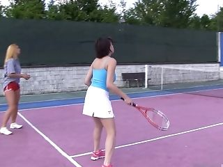 Unexperienced Lezzy Honeys Chrissy Fox And Anabelle Have Fun Tennis And Eat Poon