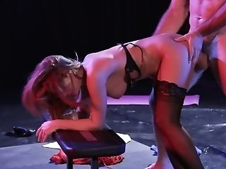 Blonde Stunner And One Stud Are Fucking On The Theater Stage