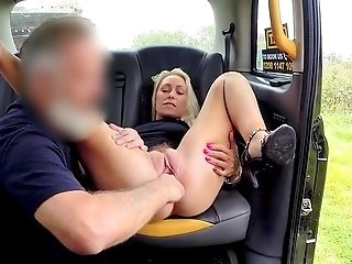 Blue Eyed Blonde Wifey, Sexy Butt-banging In The Cab