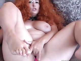 Voluptuous Buxomy Camslut Makes Herself Pleasure