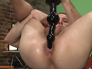 Nubile Milky Homosexual Dude Strokes His Manmeat While Stuffing His Arse