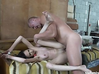 Enslaved Skinny Teenager Ashley Ocean Ball Ball-gagged And Pounded Gonzo