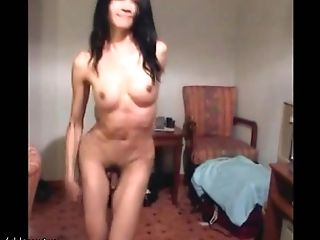 Green Eyed She-male Cums Warm Jizz Blast All Over Her Belly