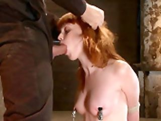 Sexy Irish Female Is Severely Trussed, Made To Suck Rod And Cumher Perky Nips Pinned And Manhandled - Hog Tied
