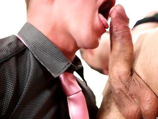 Teenager Homo Businessman Blows His Customer's Dick And Guzzles Jizm