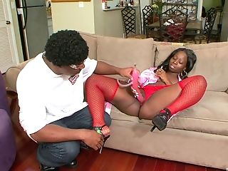 Curvy Dark-hued Tart Chanel Staxxx Bounces Her Big Bootie On A Black Dick