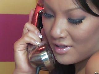 Asa Akira's Supah Sexy Phone Bang-out Getting Off