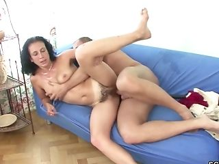 Youthful Boy Entice Hairy Step-mom To Get His First-ever Fuck