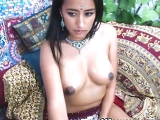 Black-haired Indian Camgirl With Big Natural Tits Masturbating In Front Of A Webcam