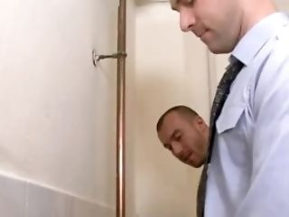 Gloryhole blowjob for this gay stud in the bathroom