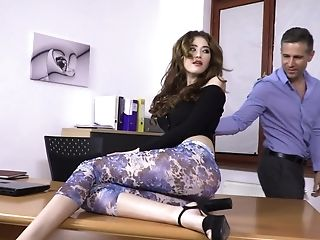 Enticing Nubile With Ease Tempts Dad's Colleague In Office