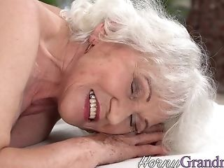 Old Granny Takes Facial Cumshot