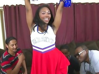 Cheerleading Nubile Gang-fuck - Black Hard-core