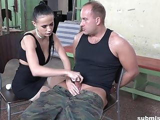 Dark-haired Mistress In A Cock-squeezing Sundress Nicole Love Manhandles Her Victim's Bone