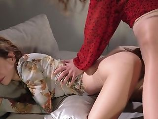Skinny Nubile Gets Inserted With Strap-on In Hot Lezzie Activity
