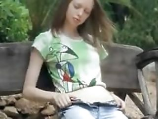 Ultra Skinny Damsel Pose On A Bench