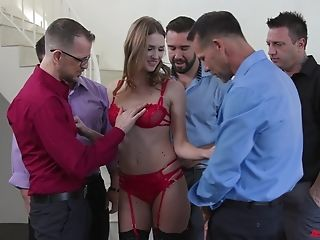Gagging Whore Ashley Lane Group-fucked And Covered With Popshots