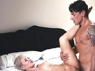 Chesty Brief Haired Blonde Is On Top Of A Hard Large Dick, Railing It