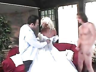Beauty In Wedding Sundress Fucked In Threesome
