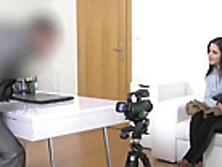 Lovely Dark-haired Gets Covered With Jizz In Casting Interview