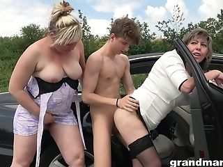 Youthful Dude Fucks Two Matures After They Give Him A Oral Pleasure Outside