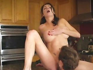 Dame Rails Cane Of Her Stepdaughter's Beau In The Kitchen