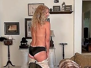 Suntanned First-timer Cougar Does A Striptease And Plays With Her Cunt