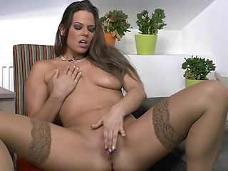 Big-chested Matures Black-haired Bombshell Simony Diamond Strips And Masturbates