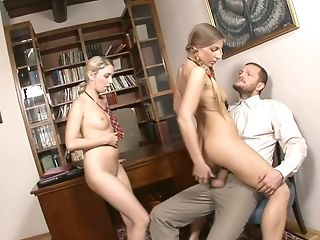 Lewd Tutor Is Able To Fuck Two Well-lubed Ass Holes Of Lusty Coed Chicks (ffm)