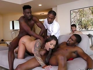 A Few Black Guys Fuck Whore Wifey Karmen Karma In Front Of Her Tied Up Spouse