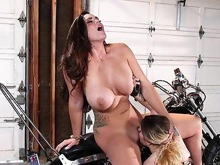 Suntanned Biker Cougar Fellates Tattooed Nips Of Milky-skinned Lady