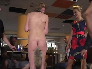 Petite Blonde Analyzed And Abjected By A Few Studs