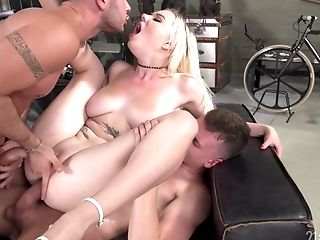 Threesome With Blonde Mery Monro Treating Two Dicks