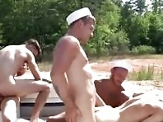 Two Hot Women Assfuck Four Way With Two Perverts In A Boat