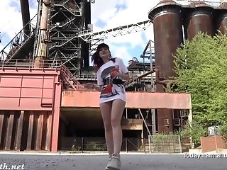Jeny Smith Is Ambling Naked Thru An Abandoned Factory.
