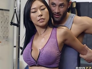 Sporty Asian Cougar Honey Moon Drinks A Stream At The Gym After Workout