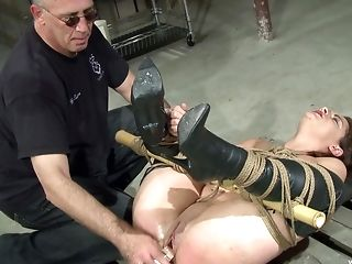 Chubby First-timer Wifey Tied Up And Poked With A Fake Penis And A Electro-hitachi