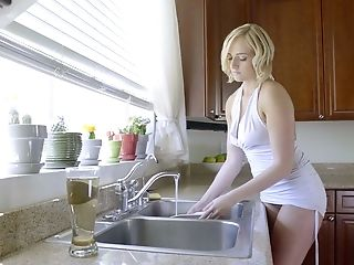 Ultra-cute Blonde Honey Kate England Gives Breast Fucking And Gets Poked In The Kitchen