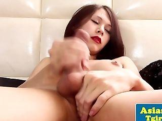 Adorable Asian Tgirl Tugging Away In Solo Joy