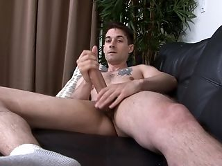 Solo Stud Ultimately Has Enough Time To Masturbate On The Couch
