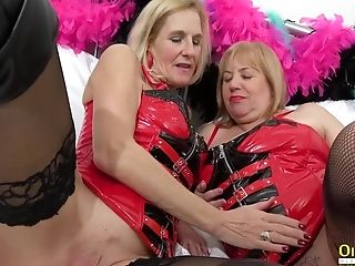 Oldnanny Two Horny Matures In Crimson Leather Corset